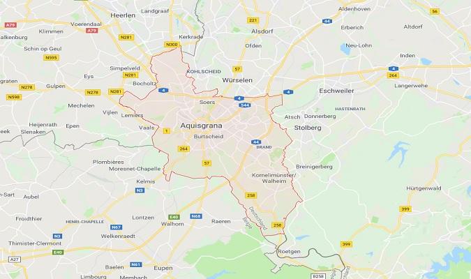 Mapa de Aachen Alemania
