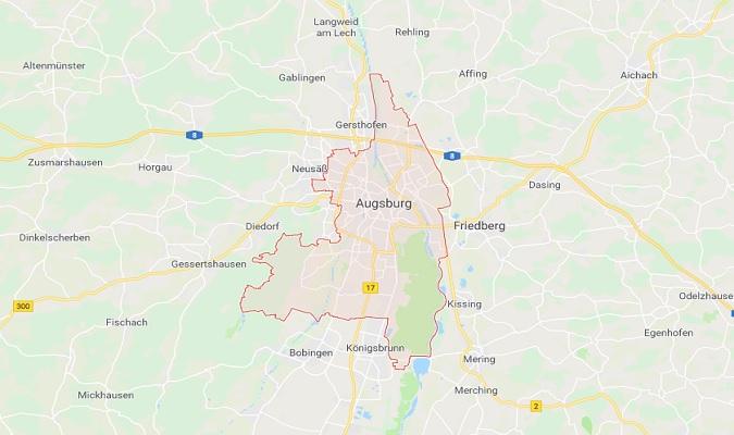 Mapa de Augsburg Alemania