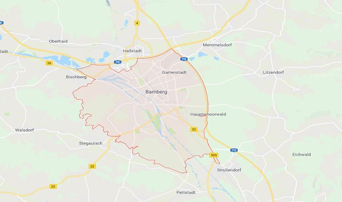 Mapa de Bamberg Alemania