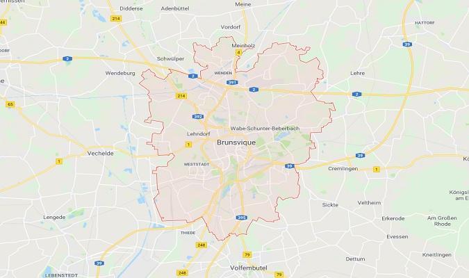 Mapa de Braunschweig Alemania