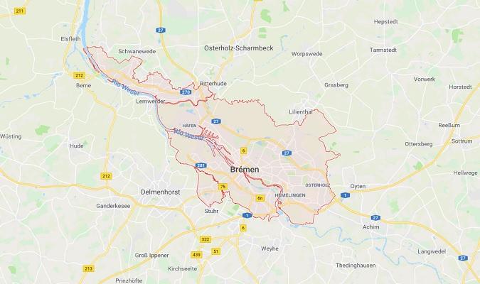Mapa de Bremen Alemania
