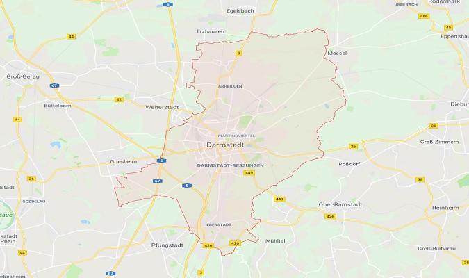 Mapa de Darmstadt Alemania